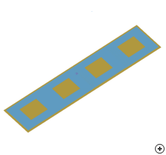 Image of the 4 x 1 Pin-fed patch array with underside feed.
