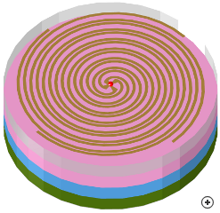 Image of the 4-arm Archimedes spiral with absorber-lined cavity backing.