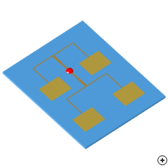 Image of the 2x2 Rectangular microstrip patch array.