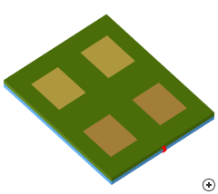 Image of the 2 x 2 Stacked patch array antenna.