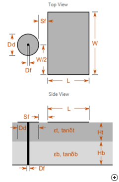 Top and side view sketches with design parameters of the Rectangular Capacitive-disc-fed Patch