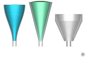 Size comparison of a 20 dBi design – sinusoidal dielectrically–loaded (left), linear dielectrically–loaded (middle) and sinusoidal corrugated (right)