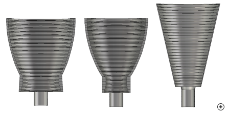 Size comparison of 20 dBi design – low sidelobes (left), symmetrical beam (middle) and linear profile (right).