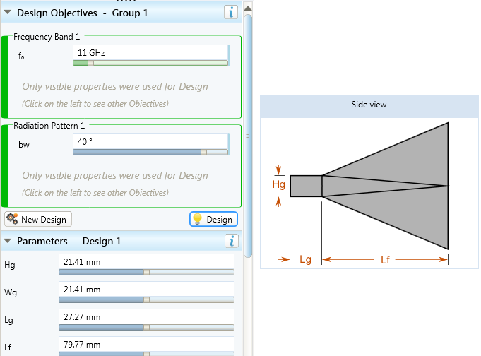 Diagonal horn antenna design in Magus  - design case study1